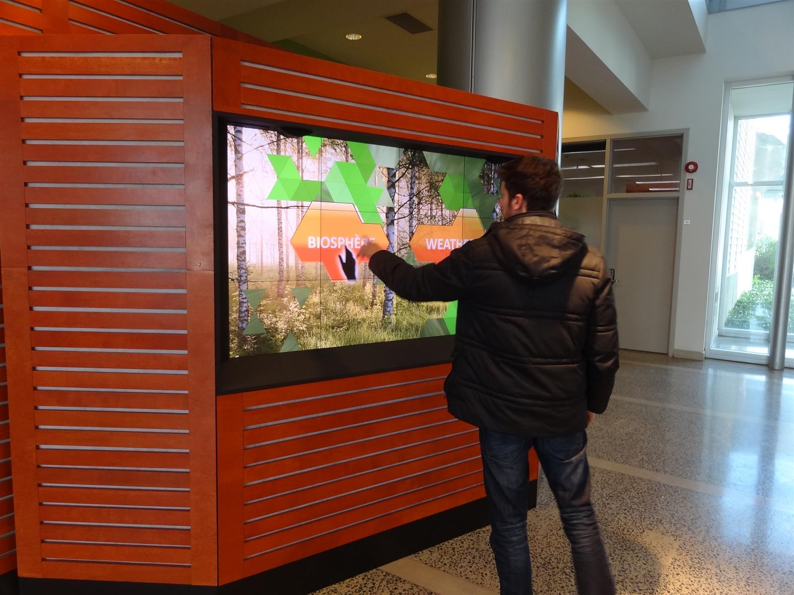 Interactive screen in lobby