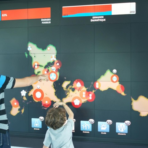 Interactive game on video wall
