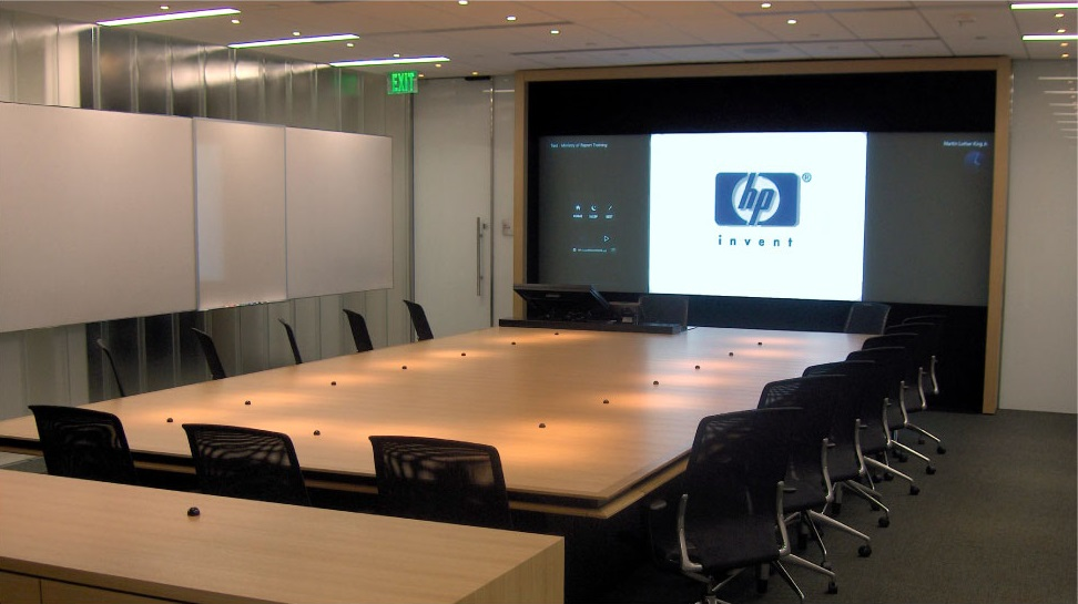 Interactive conference room video wall